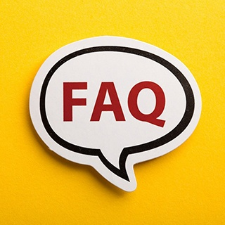 FAQ word bubble on yellow background